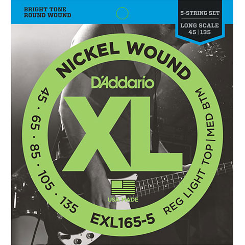 D'Addario EXL165-5 Nickel Wound .045-135